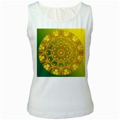 Yellow Green Abstract Wheel Of Fire Women s Tank Top (White)