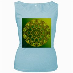 Yellow Green Abstract Wheel Of Fire Women s Tank Top (Baby Blue)