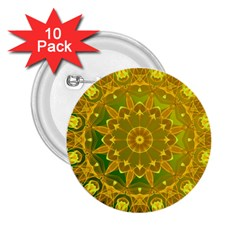 Yellow Green Abstract Wheel Of Fire 2 25  Button (10 Pack)