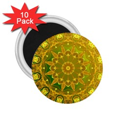 Yellow Green Abstract Wheel Of Fire 2.25  Button Magnet (10 pack)