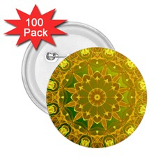 Yellow Green Abstract Wheel Of Fire 2.25  Button (100 pack)