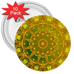Yellow Green Abstract Wheel Of Fire 3  Button (10 Pack)
