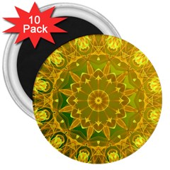 Yellow Green Abstract Wheel Of Fire 3  Button Magnet (10 Pack)