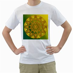 Yellow Green Abstract Wheel Of Fire Men s Two Sided T Shirt (white)