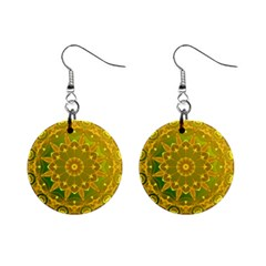Yellow Green Abstract Wheel Of Fire Mini Button Earrings