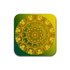 Yellow Green Abstract Wheel Of Fire Drink Coaster (Square)