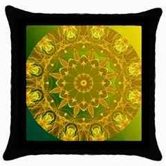 Yellow Green Abstract Wheel Of Fire Black Throw Pillow Case