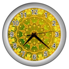 Yellow Green Abstract Wheel Of Fire Wall Clock (silver)