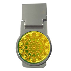Yellow Green Abstract Wheel Of Fire Money Clip (Round)