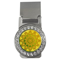 Yellow Green Abstract Wheel Of Fire Money Clip (CZ)