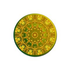 Yellow Green Abstract Wheel Of Fire Drink Coaster (round)