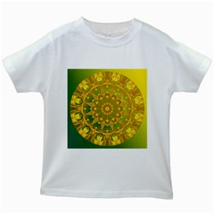 Yellow Green Abstract Wheel Of Fire Kids T Shirt (white)