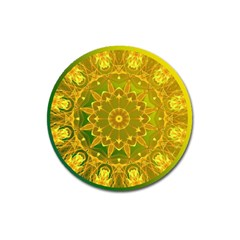 Yellow Green Abstract Wheel Of Fire Magnet 3  (Round)