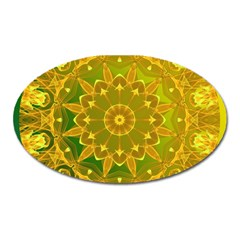 Yellow Green Abstract Wheel Of Fire Magnet (Oval)