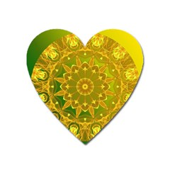 Yellow Green Abstract Wheel Of Fire Magnet (Heart)