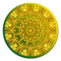 Yellow Green Abstract Wheel Of Fire Magnet 5  (Round)