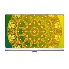 Yellow Green Abstract Wheel Of Fire Business Card Holder