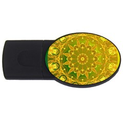 Yellow Green Abstract Wheel Of Fire 2gb Usb Flash Drive (oval)