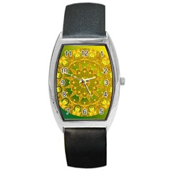 Yellow Green Abstract Wheel Of Fire Tonneau Leather Watch