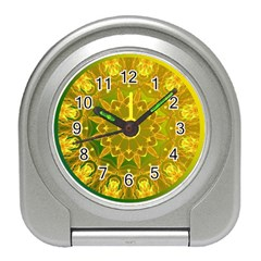 Yellow Green Abstract Wheel Of Fire Desk Alarm Clock
