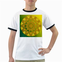 Yellow Green Abstract Wheel Of Fire Men s Ringer T-shirt
