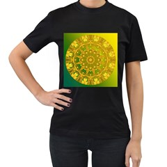 Yellow Green Abstract Wheel Of Fire Women s Two Sided T-shirt (Black)