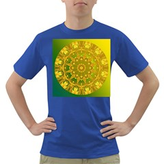 Yellow Green Abstract Wheel Of Fire Men s T Shirt (colored)