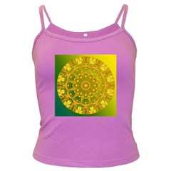 Yellow Green Abstract Wheel Of Fire Spaghetti Top (Colored)