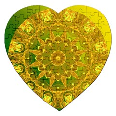 Yellow Green Abstract Wheel Of Fire Jigsaw Puzzle (heart)
