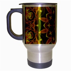 Yellow Green Abstract Wheel Of Fire Travel Mug (Silver Gray)