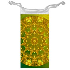Yellow Green Abstract Wheel Of Fire Jewelry Bag