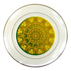 Yellow Green Abstract Wheel Of Fire Porcelain Display Plate