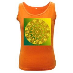 Yellow Green Abstract Wheel Of Fire Women s Tank Top (Dark Colored)