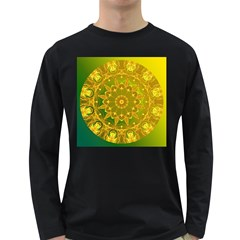 Yellow Green Abstract Wheel Of Fire Men s Long Sleeve T-shirt (Dark Colored)