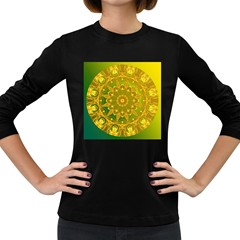 Yellow Green Abstract Wheel Of Fire Women s Long Sleeve T-shirt (Dark Colored)