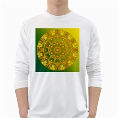 Yellow Green Abstract Wheel Of Fire Men s Long Sleeve T-shirt (White)