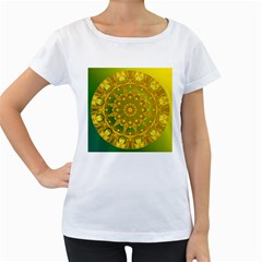 Yellow Green Abstract Wheel Of Fire Women s Loose-Fit T-Shirt (White)