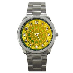 Yellow Green Abstract Wheel Of Fire Sport Metal Watch