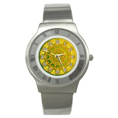 Yellow Green Abstract Wheel Of Fire Stainless Steel Watch (slim)