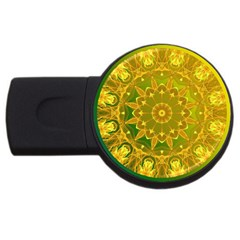 Yellow Green Abstract Wheel Of Fire 4gb Usb Flash Drive (round)