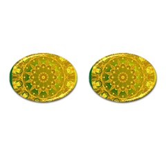 Yellow Green Abstract Wheel Of Fire Cufflinks (Oval)