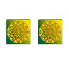 Yellow Green Abstract Wheel Of Fire Cufflinks (Square)