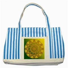 Yellow Green Abstract Wheel Of Fire Blue Striped Tote Bag