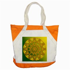 Yellow Green Abstract Wheel Of Fire Accent Tote Bag