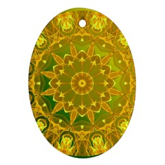 Yellow Green Abstract Wheel Of Fire Oval Ornament (Two Sides)