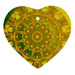 Yellow Green Abstract Wheel Of Fire Heart Ornament (Two Sides)