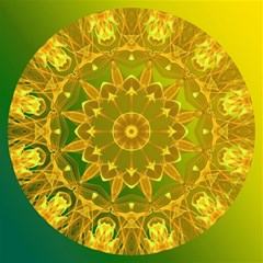 Yellow Green Abstract Wheel Of Fire Canvas 12  x 12  (Unframed)