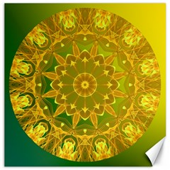 Yellow Green Abstract Wheel Of Fire Canvas 20  x 20  (Unframed)