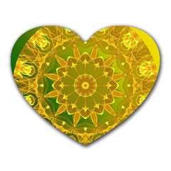 Yellow Green Abstract Wheel Of Fire Mouse Pad (heart)
