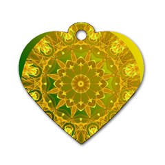 Yellow Green Abstract Wheel Of Fire Dog Tag Heart (Two Sided)